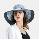 Women's Two-tone Stitching Elegant Straw Hat
