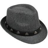Mens chapeau rétro britannique crâne et os croisés de laine petit bonnet de jazz