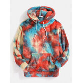 Sweats à capuche Tie Dye Plush Fluffy Kangaroo Pocket