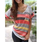 प्लस साइज महिला कैजुअल पैचवर्क स्ट्राइप शॉर्ट स्लीव टी-शर्ट