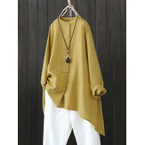Women Retro Button Long Sleeve Asymmetric Shirt Blouse