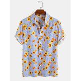 Bawełniane bawełniane koszule z nadrukiem w paski, na co dzień, z krótkim rękawem, na Hawajach, męskie koszule wakacyjne
