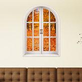 Herfstbladeren 3D Kunstmatige Venster Uitzicht 3D Muurstickers Kamer PAG Stickers Home Muur Decor Cadeau