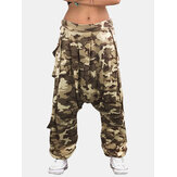 Casual Loose Elastic Waist Button Camouflage Print Harem Pants For Women