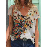 Women Butterfly Print V-neck Summer Short Sleeve Loose Casual T-shirts