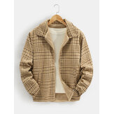 Mens Plaid Bear Letter Embroidered Lapel Reversible Fleece Casual Jacket