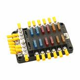 Bloque de fusibles de 12 V / 24 V 12 vías LED Unión de fusibles Caja Fusible de cuchilla 24 terminales Caja Coche barco