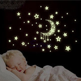 Miico Luminoso Stella e Luna Creativo PVC Wall Sticker Home Decor Murale Art Stickers murali smontabili