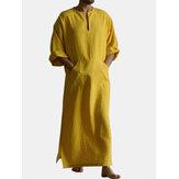 Herren Senf Set Baumwolle Rundhalsausschnitt Ausschnitt Schlitz 3/4 Länge Ärmel lang Länge Kleid Hemden