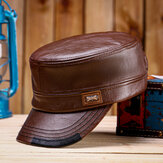 Collrown Men's Leather Flat Hats With Color Matching Hat Warm Hats