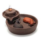 2-Buffalo Ceramic Backflow Bruciatore di incenso Stick coni Censer Buddista Decor
