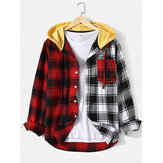 Mens Plaid Patchwork Long Sleeve Chest Pocket Drawstring Hooded Shirts