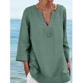 Женская однотонная повседневная стильная блузка с V-образным вырезом и четвертью