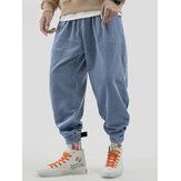 Mens Vintage Corduroy warme elastische taille dikke casual broek