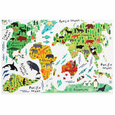 Colorful Animal World Map Wall Sticker Removable Home Decal for Kids Baby Room Living Room Mural Wall Art Decor
