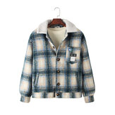 Mens Vintage Plaid Multi Pocket  Long Sleeve Teddy Jacket