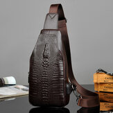 Men PU Leather Crocodile Printed Fashion Crossbody Bag Chest Bag