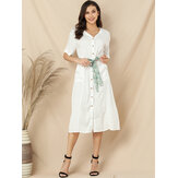 Women Casual V-neck Short Sleeve Midi Shirt Dress