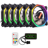 Coolmoon 6PCS 12cm Multilayer Backlit RGB Cooling Fan with IR Controller for Desktop PC