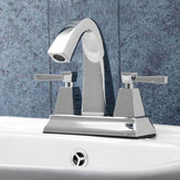 TAPCET Luxury Chrome Polished Bathroom Sink Mixer Tap Dual handle Two Holes Bath Faucet Hot and Cold Water Deck Mounted Washbasin Mixer Tap