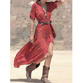 Women Bohemian Printed Side Pockets Half Sleeve Dress