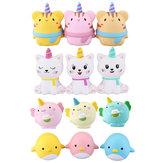 WOOW Squishy 3Pcs Kawaii Unicorn Animal Langsam steigende Zugstufe Spielzeug mit Verpackung