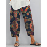 Ethnic Floral Print Elastic Side Pocket Irregular Casual Pants For Women