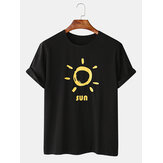 Mens Funny Sun Cartoon Print Crew Neck Casual T-Shirts
