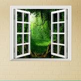 Forêt profonde pag 3d vue de la fenêtre artificielle 3d stickers muraux salle autocollants mur de la maison cadeau décoration