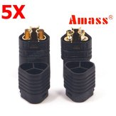5 Pairs Amass MT60 Three-hole Plug Connector Black Male & Female