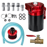 Universal 300mL Oil Catch Tank with Breather Filter Red/Blue For Car Modification