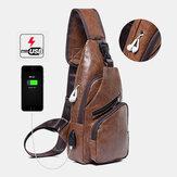 Men Casual Resistant Waterproof Anti-theft Chest Bag Headphone Hole USB Charging Port Design Multi-pocket Travel Daypack Shoulder Bag