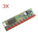 3Pcs NE555 + CD4017 LED Flash DIY Kit 3-5V Light LED Module