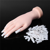 Flexible Nail Art Acrylic False Training Hand Practice Tips Manicure Tools Trainer