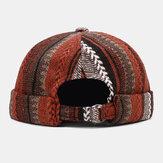 Összehúzott unisex hétköznapi brit stílusú csíkos patchwork minta karimás sapka, pipa, földesúr kalap