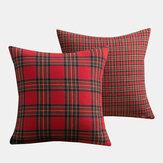 1PC quadratischer Kissenbezug Weihnachten Scottish Plaid Throw Waist Kissenbezug 18