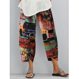 Floral Print Elastic Waist Loose Split Irregular Hem Pocket Vintage Pants For Women