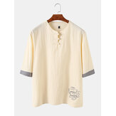 Mens style chinois dragon oriental brodé boucle chemises henley