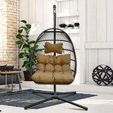 KCASA Rattan Swing Chair Outdoor Indoor Wicker Tear Drop Hanging Chair Include Stand and Brown Chair Pad Mat/Cushion