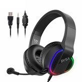 EKSA E400 Gaming Headset Gamer 3.5mm Stereo Kablolu Kulaklık ile Mikrofon RGB LED Işıkları PS4 / PC / Xbox One / Nintendo Anahtarı