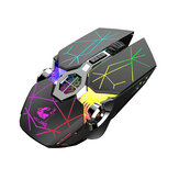 Free Wolf X13 Dual Mode Wireless Optical Mechanical Mouse 2.4GHz Bluetooth Backlight 3 Gears 2400DPI Réglable Ergonomique Rechargeable Quiet Gaming Souris