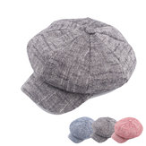 Women Mens Vintage Linen Octagonal Cap Casual Solid Painter Hat Newsboy Cap