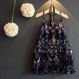 Kid Girls Floral Printed Sleeveless Strap Chiffon Pleated Dress (Not Including Necklace)