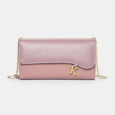 Women PU Chains  6.3 Inch Phone Solid Letter Crossbody Bag