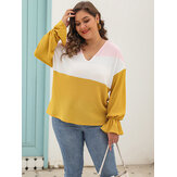 Plus Size Langarm V-Ausschnitt Color Block Causal Bluse