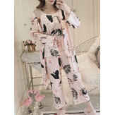 Womens Florral Print Tank Top With Robe Three Piece Home Casual Pajama Set