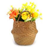 Faltbare Blumentopf Pflanze Stroh Aufbewahrungskörbe Blumenvase Handgemachte Hängekorb Home Decor