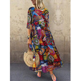 Women Retro Graffiti Print Round Neck Pleated Casual Maxi Dresses