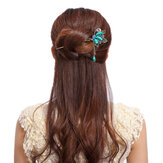 Vintage Butterfly Rhinestone Turquoise Tassel Hairpin