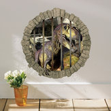Miico Creative 3D Dinosaur in Cage PVC Removable Home Room Decorative Wall Door Decor Sticker